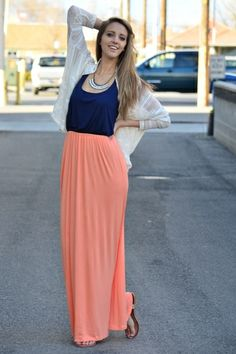Peach and Navy color  Maxi Dress <3