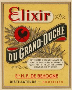 a beautiful Flemish label for an alcoholic decoction - for showering...?