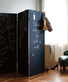 Chalkboard room divider!... So going to add this idea to divide living and dining room with guest greeting and inspirational sayings... TH 7.30.14