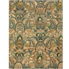 With a distinctive style, a gorgeous wool area rug from India will add some splendor to any decor. This Kazak area rug is hand-knotted with a floral pattern in shades of green, olive, gold, beige, dark green, and light brown.