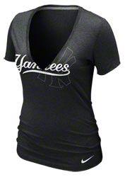 New York Yankees Women's Nike Heather Black Deep V-Neck T-Shirt