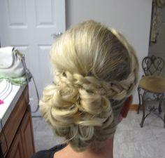 Updo with braid. Hair by Elle. W. Hair