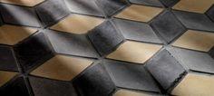 3x5 Diamond Tile Charcoal Gray Sidewalk Gray and Hacienda..........love the 3D look.
