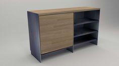 Design Metallmoebel Sideboard Mehrzweck-Aufbewahrung aus Stahl Holz Eiche Stahlzart timeless design Stahlmöbel