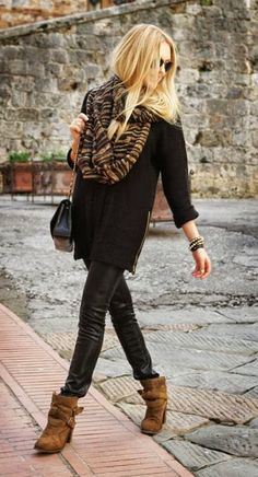 Leather pants, black, loose sweater, tan booties and tan with black scarf ties it all together