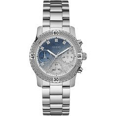 GUESS Silver-Tone Multifunction Watch (595 DKK) ❤ liked on Polyvore featuring jewelry, watches, silvertone jewelry, silver tone watches, silver tone jewelry, dial watches and guess watches