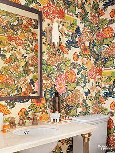Imagine the surprise guests receive when they open the door to this powder room bathroom wallpaper Bathroom Wallpaper Trends, Bold Wallpaper, Chinoiserie Wallpaper, Modern Wallpaper, Print Wallpaper, Wallpaper Ideas, Wallpaper Borders, Rustic Bathroom Vanities, Bathroom Small