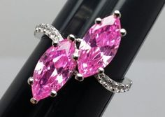 Stunning-Pink-Stones-Costume-Ring-Silvertone-Band-with-Accents-Size-8