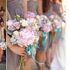 Bridesmaid #2 Light purple flowers with turquoise ribbon over burlap wrap Dream Wedding, Wedding Day, Wedding Stuff, Wedding Blush, Wedding Goals, Rose Wedding, Wedding Dreams, Mermaid Wedding, Bridesmaid Flowers
