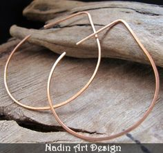 Kupfer Blatt Ohrringe - Creolen Ohrringe von NadinArtGlass auf DaWanda.com