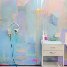 Bedroom Wall Colors, Bedroom Murals, Diy Bedroom Decor For Teens, Pastel Walls, Colorful Apartment, Townhouse Interior, Neon Room, Pastel Decor, Deco Originale