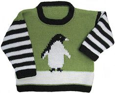Ravelry: Penguin Pullover pattern by Gail Pfeifle, Roo Designs Baby Boy Knitting Patterns, Knitting For Kids, Knitting Designs, Baby Patterns, Knit Patterns, Baby Boy Sweater, Knit Baby Sweaters, Cardigan Bebe, Baby Kids Clothes