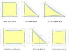 Shade sails dimensions. Gonna make my own out of drop cloths.