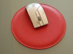 Tapis de souris cuir rouge