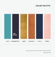 Color Inspiration : Teal + Midnight Blue + Terracotta + Navy and Blush This color palette was inspired by water color. Orange Color Palettes, Blue Colour Palette, Blue Color Schemes, Navy Blue Color, Color Combos, Blush Color, Blue Color Pallet, Midnight Blue Color, Coral Blush