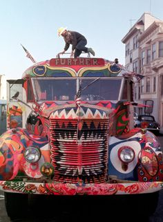 """Ken Kesey atop """"Further,"""" the converted school bus that toured with the Merry Pranksters in the Electric Acid Kool-Aid Test. Photo by Allen Ginsberg. Margaret Atwood, Woodstock, Rock N Roll, Ken Kesey, Hippie Movement, Hippie Culture, Beatnik, Kool Aid, Before Us"""