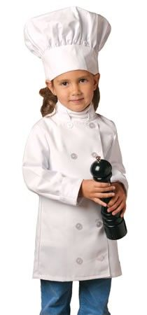 Creativity in the kitchen can start at an early age and this professional grade combo can help.  This American made chef hat and chef coat is a perfect way to encourage that little one to help out in the kitchen.  We can always add the child's name for that personalized touch.  ApronOutfitters.com