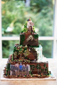 Outdoorsman mountain hiking cake with personalized photos of the groom and friends - Cake by Dallas Affairs Cake Company - Photo by Kathryn Krueger Photography