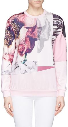 MO&CO. EDITION 10 Floral patchwork print sweatshirt - Click link for product details :)