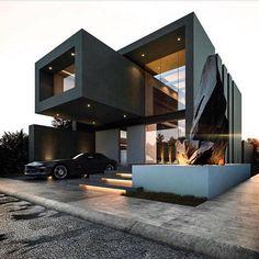 Pin de decor and architecture en exterior design en 2019 modern house desig Minecraft Villa, Black House Exterior, Modern Exterior, House Exterior Design, Modern Garage, Casas Containers, Minimalist House Design, Minimalist Style, Interior Architecture