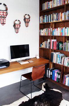 Stylish and simple home office setup. #modern #homeoffice #darkhorse #leatherchair Dining Chairs, Dining Room, Home Office Setup, Dark Horse, Simple House, Corner Desk, Modern Furniture, Stylish, Design