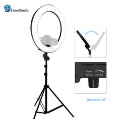 """LimoStudio 18"""" Ring Light Dimmable Fluorescent Continuous Lighting Kit 5500K"""