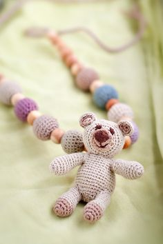 Bear nursing necklace - crochet nursing necklace - teething toy - bear toy -  Breastfeeding - beige - ecofriendly on Etsy, $40.50