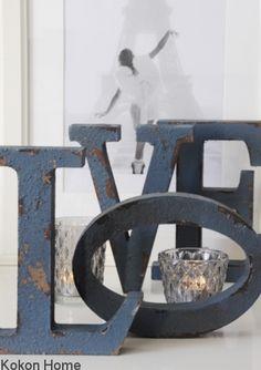 Litery dekoracyjne ANTIC BLUE/LOVE