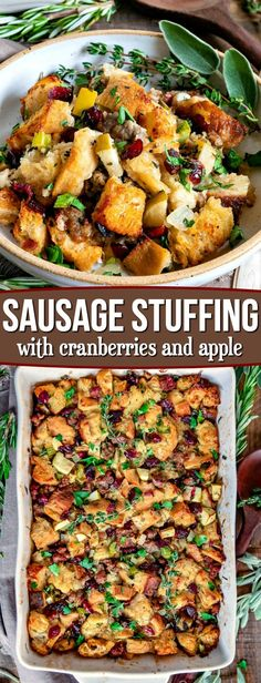 This easy Stuffing Recipe is our absolute favorite! Loaded with sausage, cranberries, apples and tons of fresh herbs it's the perfect addition to your holiday feast! // Mom On Timeout recipe dressing Sausage Stuffing Recipe with Cranberries and Apples Stuffing Recipes For Thanksgiving, Thanksgiving Side Dishes, Christmas Stuffing, Thanksgiving Desserts, Thanksgiving Turkey, Christmas Desserts, Cranberry Recipes, Holiday Recipes, Dinner Recipes