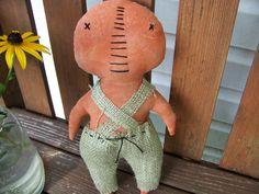 Primitive Pumpkin Man Fabric Decor/Doll/Shelf by MondaysChildPrims, $10.00