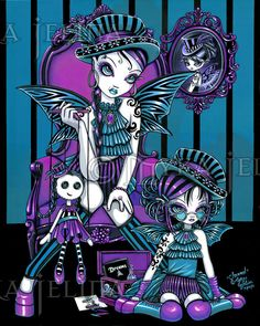 """""""Charmed"""" Gothic Couture Magical Fairy Poster - by Myka Jelina who is one of my favourite gothic fantasy artists. These colours are wonderful and work so well together. I'm going to have to treat myself to this one day soon. Fantasy Kunst, Fantasy Art, Fantasy Dolls, Dibujos Dark, Art Carte, Gothic Fairy, Gothic Castle, Fairy Art, Magic Fairy"""