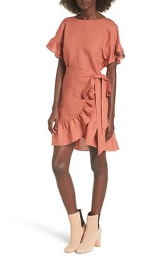 Main Image - ASTR the Label Ruffle Linen Blend Wrap Dress