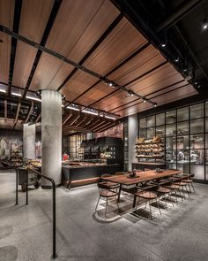 Featuring the latest generation design and menu, the new Starbucks Reserve Seattle store opened its doors this week. Starbucks Shop, Starbucks Reserve, Modern Hotel Lobby, Hotel Lobby Design, Cafe Restaurant, Restaurant Design, Modern Restaurant, Cafe Bar, Ideas