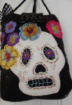 Days of the Dead felt purse