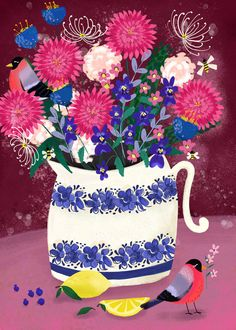 Dahlia Bouquet Still Life by Joy Laforme
