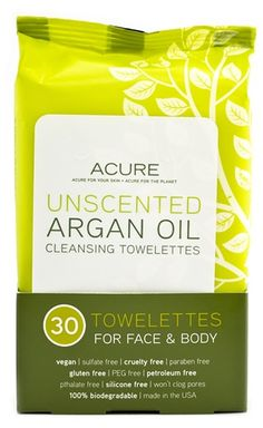 Our convenient towelettes are biodegradable and free of synthetics, fragrances, gluten free, plus cruelty free and vegan. Super easy to pack and very handy because they require no water to remove debris or refresh the face and body. The Argan oil does a great job at keeping the skin hydrated after cleansing without oily residue.