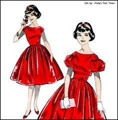 party dress pattern, vintage pattern, Advance 9163, dress pattern, jacket pattern, late 50s, Rockabilly. $16.00, via Etsy.