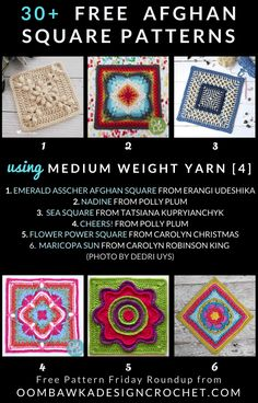 30 free crochet afghan square patterns crocheted with Medium Weight Yarn Perfect to keep our hands busy and to use up our yarn stash. Crochet Squares Afghan, Crochet Square Patterns, Baby Afghan Crochet, Crochet Quilt, Crochet Blocks, Crochet Bear, Crochet Round, Free Crochet, Granny Squares
