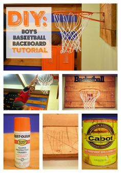 Super-amazing (& easy) DIY for your boy's bedroom. He can actually hang on this rim. Tutorial, pics included.