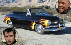 """The Scorpions """"Hell Chariot"""" — that flame emblazoned hot rod that was so deftly defeated by Danny Zuko (John Travolta) in an off-road race —. Hot Rod Movie, Movie Tv, Rat Rods, Famous Movie Cars, Grease Movie, Danny Zuko, Cinema, Custom Cars, Concept Cars"""