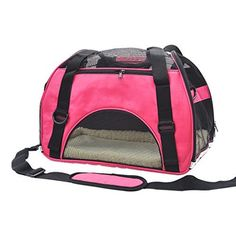 Pet Cuisine Breathable Soft-sided Pet Carrier, Cats Dogs Travel Crate Tote Portable Handbag Shoulder Bag Outdoor Pink S * Additional info @