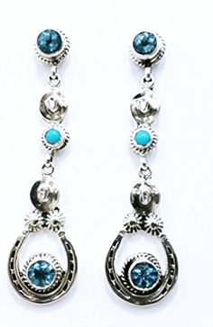 Horseshoe Cowboy Hat Dangle Earrings.925 Sterling Silver Native American Handmade Blue Topaz Sleeping Beauty Turquoise (Blue) >>> Click on the image for additional details.