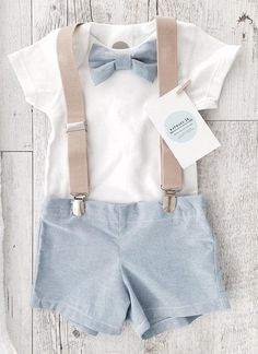 Baby boys outfit with blue bowtie, matching shorts/pants and tan children's suspenders and optional matching bunny, shoes, cap Source by boy outfits Boys Summer Outfits, Baby Boy Outfits, Kids Outfits, Baptism Outfits For Boys, Baby Boy Wedding Outfit, Summer Boy, Baby Girl Pants, Girls Pants, Baby Boy Christening Outfit