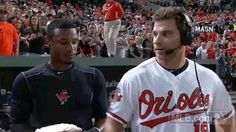 Would you care for a taste first? Adam Jones hits Chris Davis with politest postgame pieing ever | MLB.com