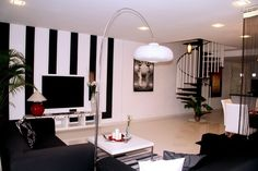 Feeling the striped wall accent!  Modern decor home-sweet-home