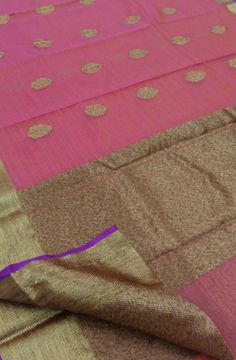 Pink Cotton Silk Weaved Banarasi Saree