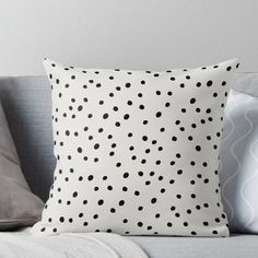 Super soft and durable spun polyester Throw pillow with double-sided print. Cover and filled options. Preppy Spots, Black and White, Minimal, Polka Dot Print Bedroom Color Schemes, Bedroom Colors, Bedroom Decor, Bedroom Ideas, Polka Dot Print, Polka Dots, Country Bedroom Design, Polka Dot Bedding, Minimalist Pattern