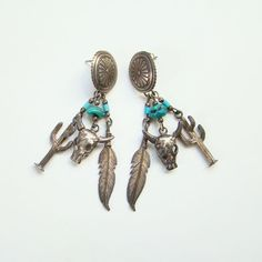 Southwestern Theme Concho Pierced Turquoise Sterling Silver Dangle Earrings Feather Cattle Cactus by redroselady on Etsy