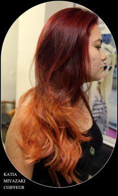 Katia Miyazaki Coiffeur - Salão de Beleza em Floripa: coloração - cabelo longo -  fire ombre - tons de r...