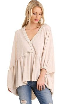 Umgee Women's Relaxed Fit Top with Surplice Neckline Detailed with Lace featuring Bishop Sleeves with Tassel Ties
